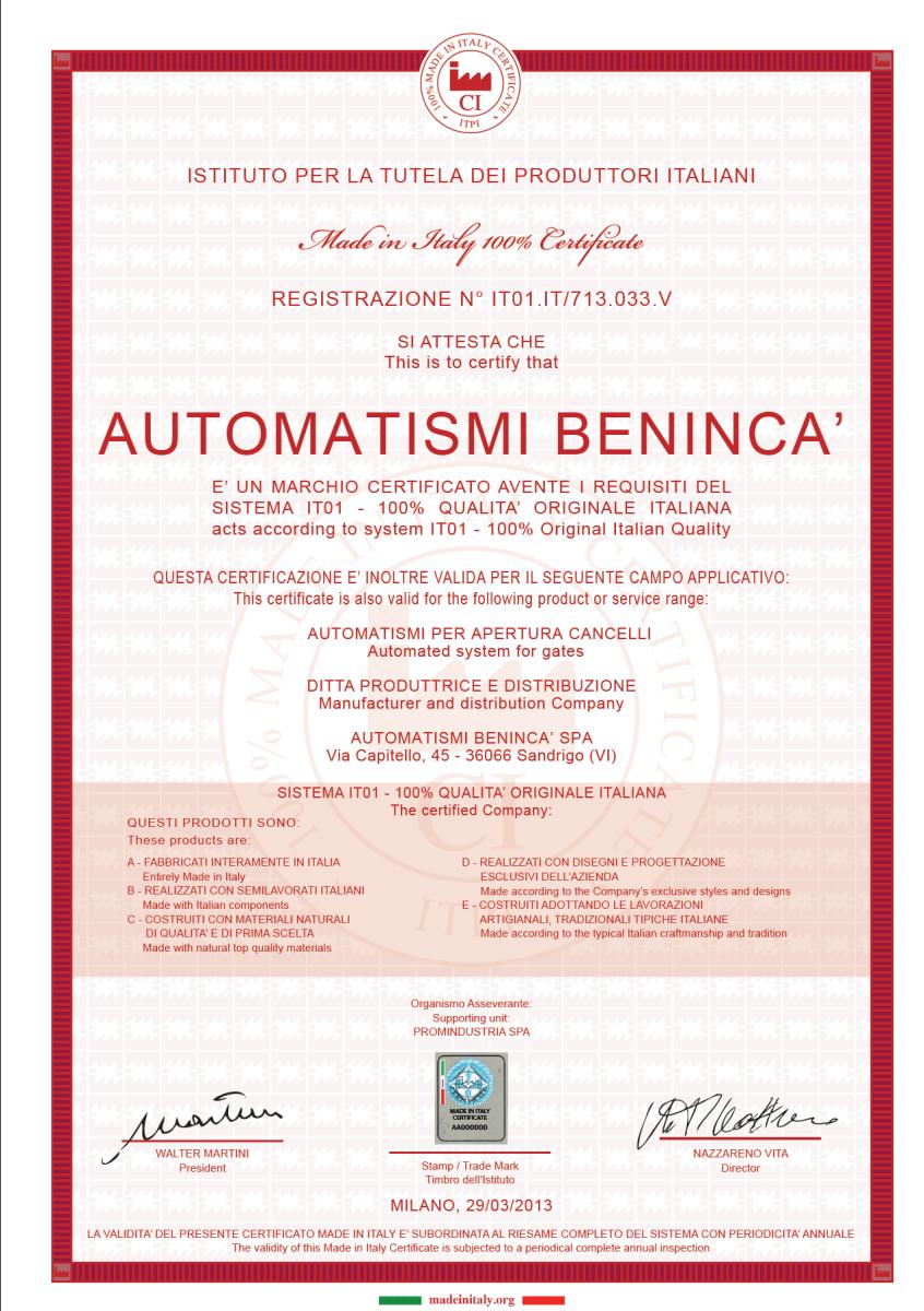 Beninca - Certyfikat
